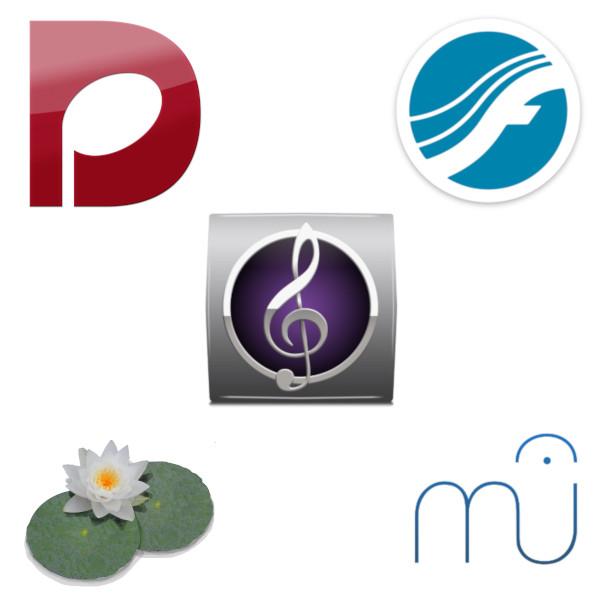 Logos de los diferentes editores de partituras.
